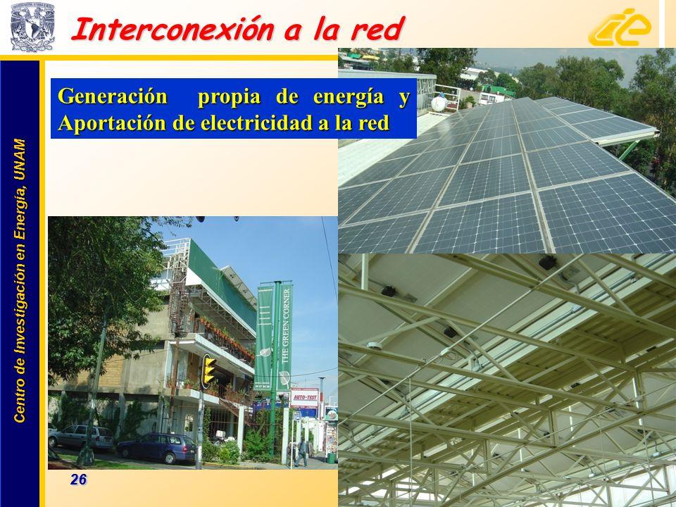 Centro de Investigación en Energía, UNAM Centro de Investigación en Energía, UNAM 26 www.cie.unam.mx Interconexión a la red Generación propia de energ