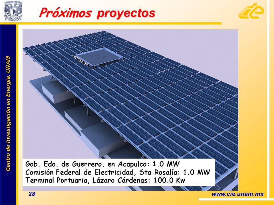 Centro de Investigación en Energía, UNAM Centro de Investigación en Energía, UNAM Próximos proyectos 28 www.cie.unam.mx Gob. Edo. de Guerrero, en Acap