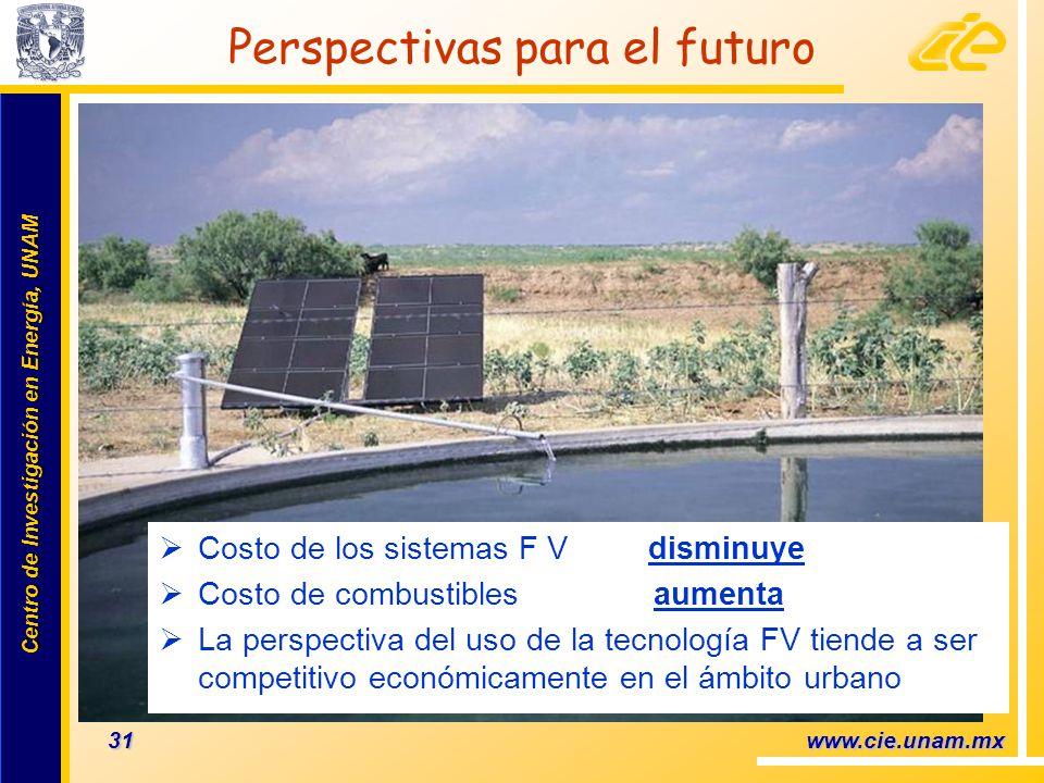 Centro de Investigación en Energía, UNAM Centro de Investigación en Energía, UNAM 31 www.cie.unam.mx Perspectivas para el futuro Costo de los sistemas