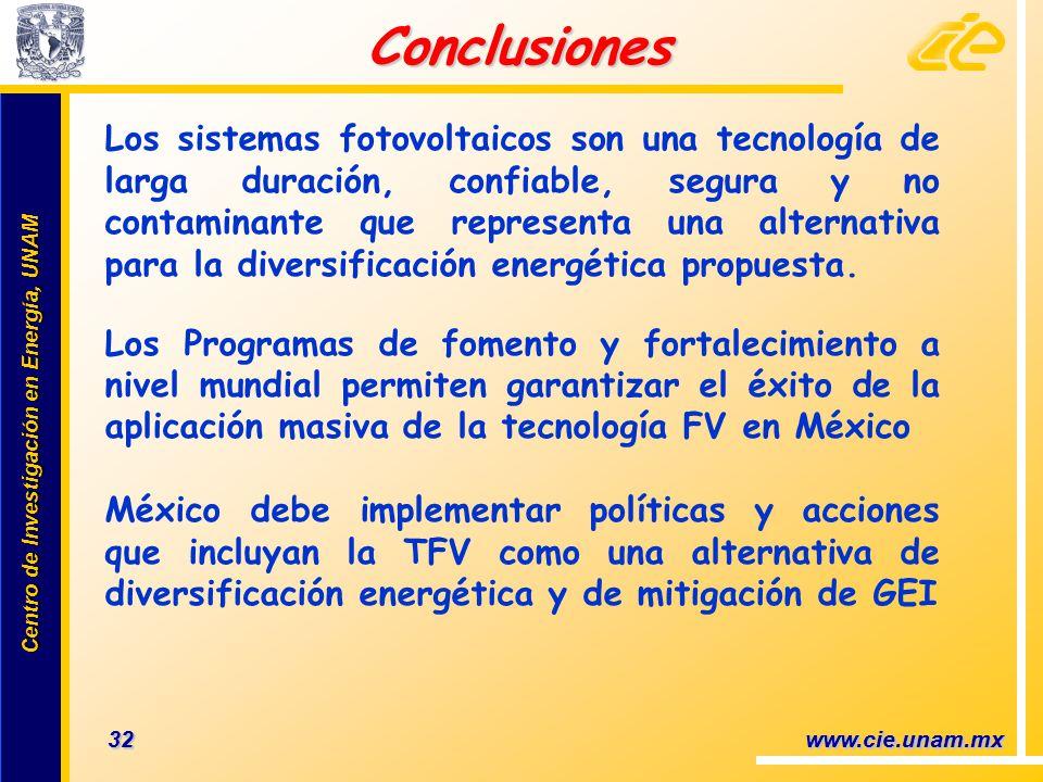 Centro de Investigación en Energía, UNAM Centro de Investigación en Energía, UNAM 32 www.cie.unam.mx Los sistemas fotovoltaicos son una tecnología de