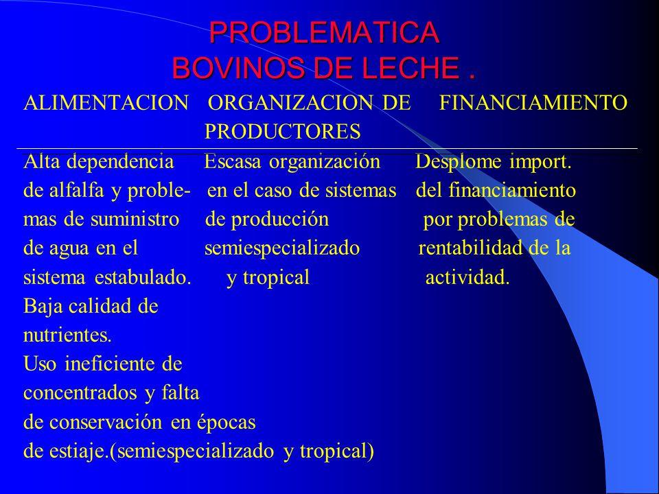 PROBLEMATICA BOVINOS DE LECHE. ALIMENTACION ORGANIZACION DE FINANCIAMIENTO PRODUCTORES Alta dependencia Escasa organización Desplome import. de alfalf