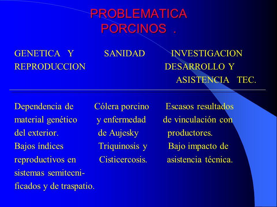 PROBLEMATICA PORCINOS. GENETICA Y SANIDAD INVESTIGACION REPRODUCCION DESARROLLO Y ASISTENCIA TEC. Dependencia de Cólera porcino Escasos resultados mat