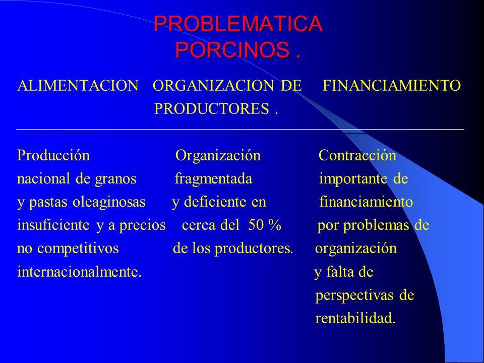 PROBLEMATICA PORCINOS. ALIMENTACION ORGANIZACION DE FINANCIAMIENTO PRODUCTORES. Producción Organización Contracción nacional de granos fragmentada imp