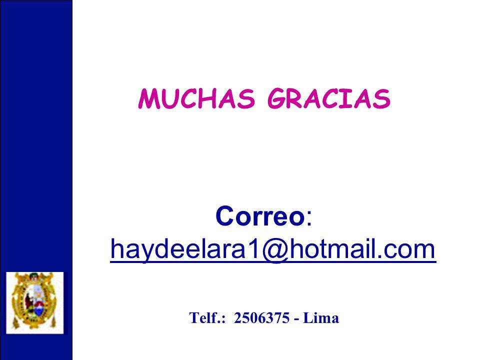 MUCHAS GRACIAS Correo: haydeelara1@hotmail.com Telf.: 2506375 - Lima