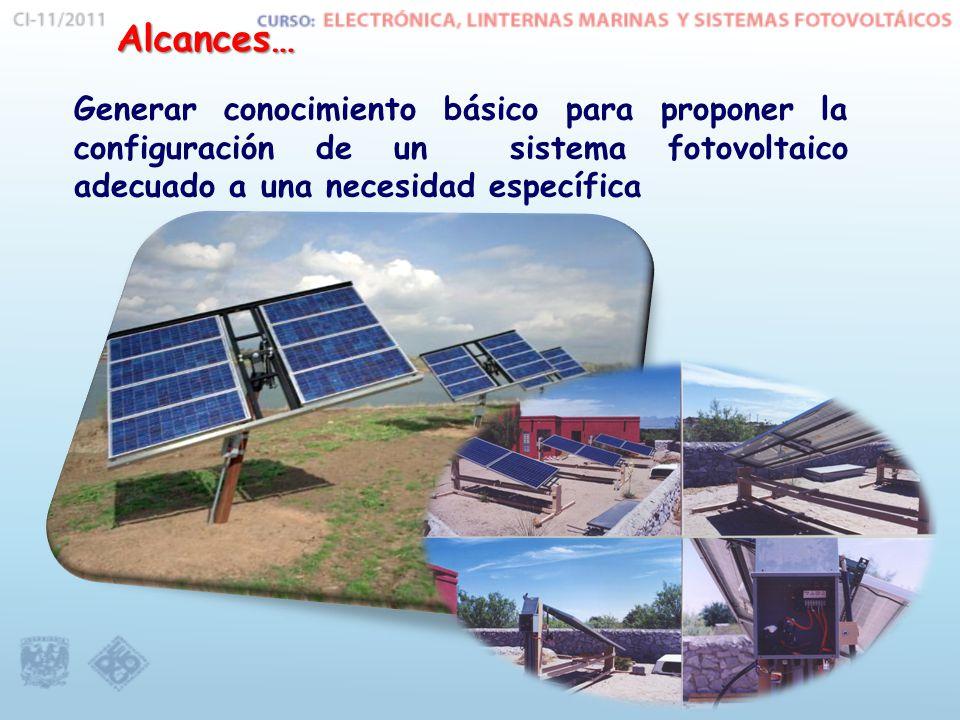 Generar conocimiento básico para proponer la configuración de un sistema fotovoltaico adecuado a una necesidad específica Alcances…