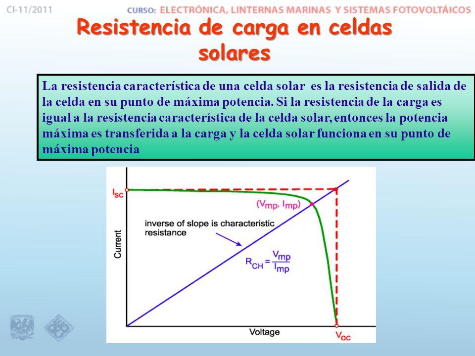 Resistencia de carga en celdas solares La resistencia característica de una celda solar es la resistencia de salida de la celda en su punto de máxima potencia.
