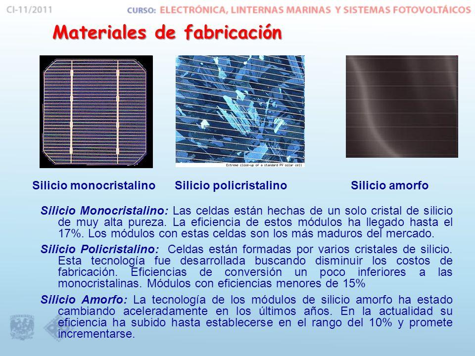Materiales de fabricación Silicio monocristalinoSilicio policristalinoSilicio amorfo Silicio Monocristalino: Las celdas están hechas de un solo cristal de silicio de muy alta pureza.