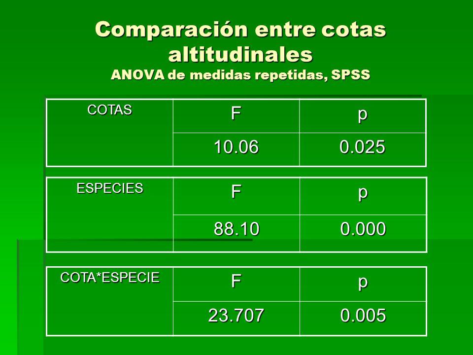 Comparación entre cotas altitudinales ANOVA de medidas repetidas, SPSS COTASFp 10.060.025 ESPECIESFp88.100.000 COTA*ESPECIEFp23.7070.005