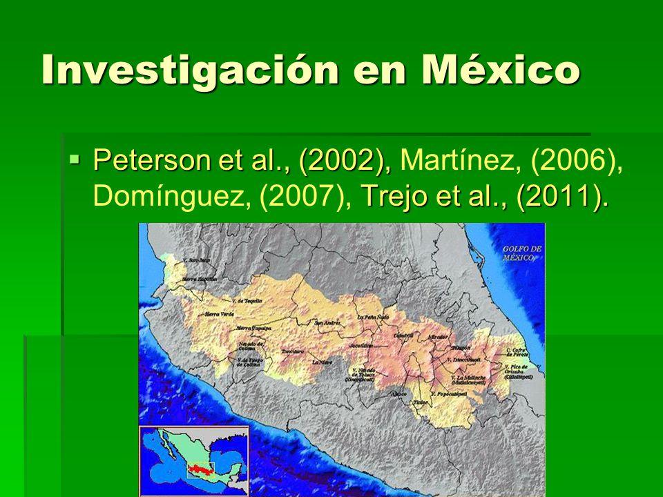 Investigación en México Peterson et al., (2002), Trejo et al., (2011). Peterson et al., (2002), Martínez, (2006), Domínguez, (2007), Trejo et al., (20