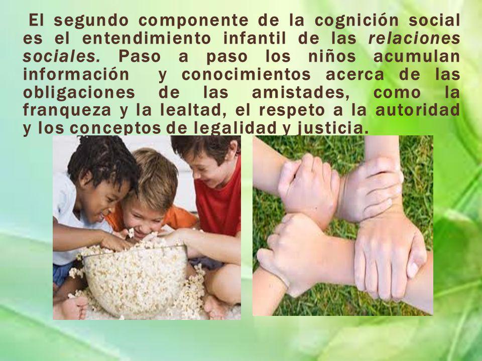 El segundo componente de la cognición social es el entendimiento infantil de las relaciones sociales. Paso a paso los niños acumulan información y con