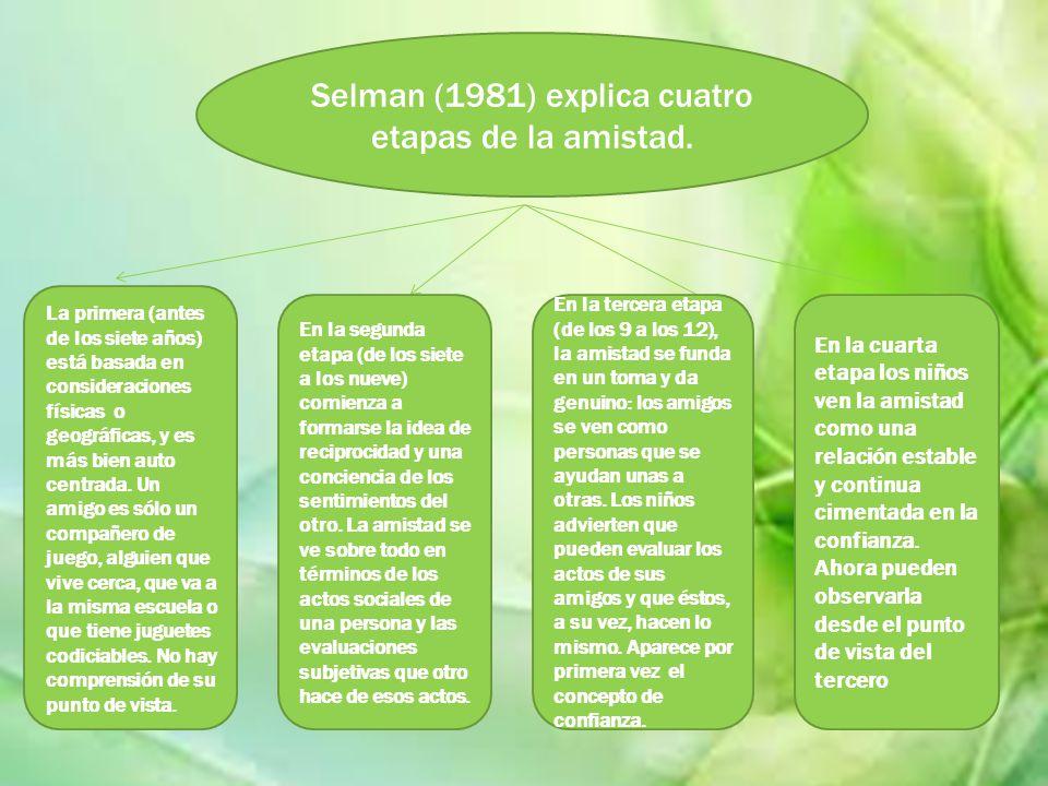 Selman (1981) explica cuatro etapas de la amistad. La primera (antes de los siete años) está basada en consideraciones físicas o geográficas, y es más