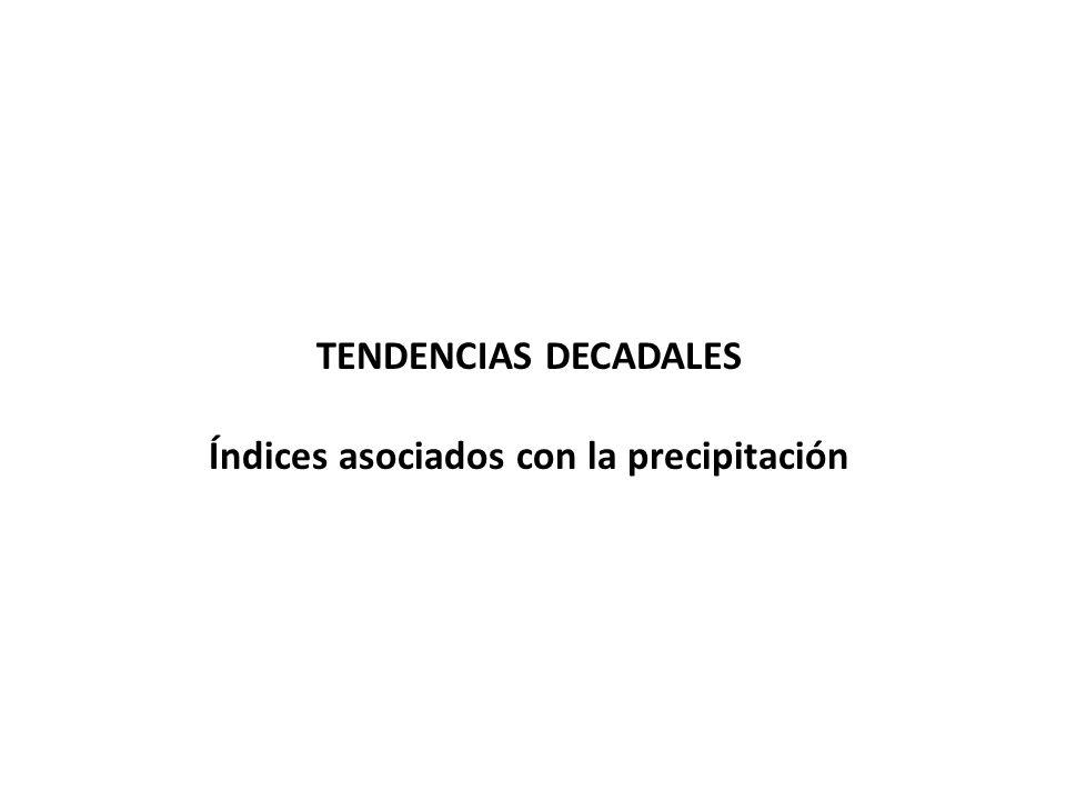 TENDENCIAS DECADALES Índices asociados con la precipitación