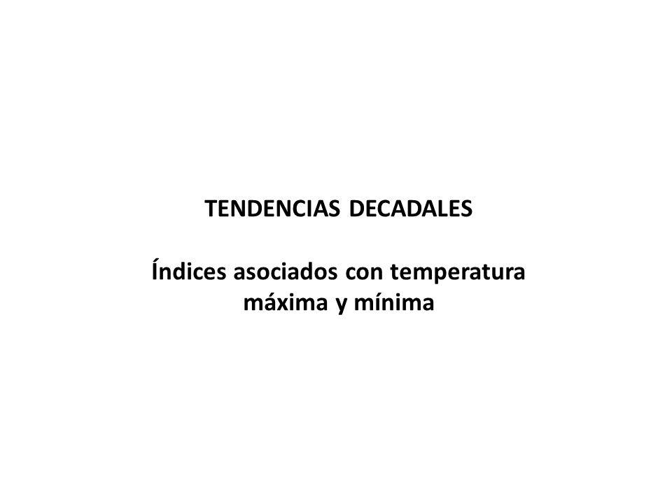 TENDENCIAS DECADALES Índices asociados con temperatura máxima y mínima