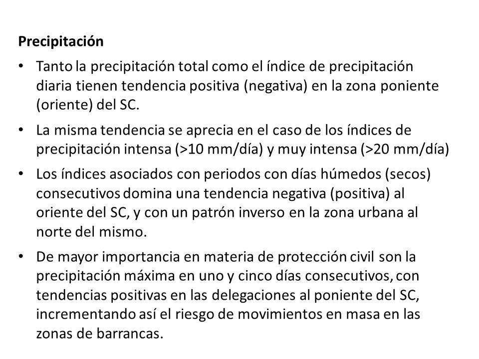 Precipitación Tanto la precipitación total como el índice de precipitación diaria tienen tendencia positiva (negativa) en la zona poniente (oriente) d
