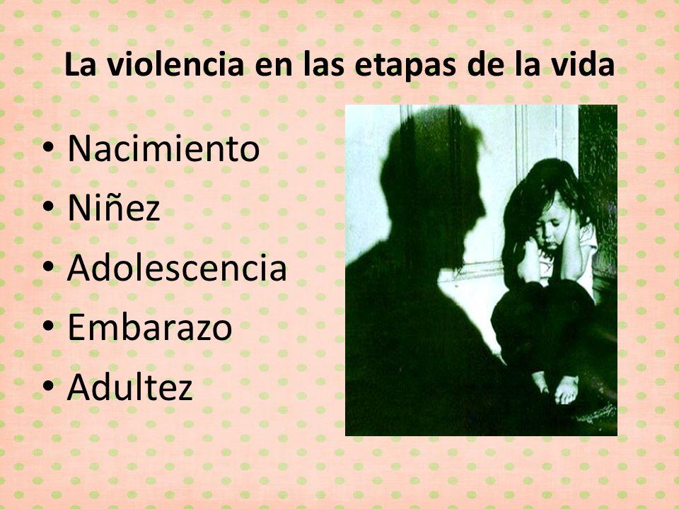 La violencia en las etapas de la vida Nacimiento Niñez Adolescencia Embarazo Adultez