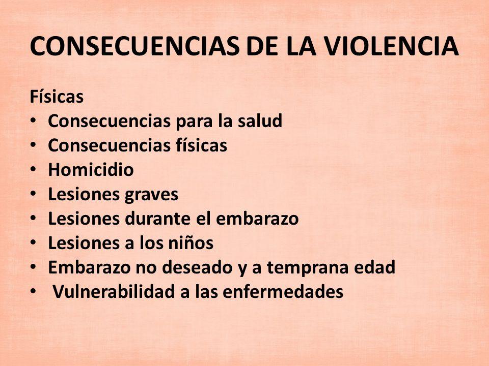 CONSECUENCIAS DE LA VIOLENCIA Físicas Consecuencias para la salud Consecuencias físicas Homicidio Lesiones graves Lesiones durante el embarazo Lesione