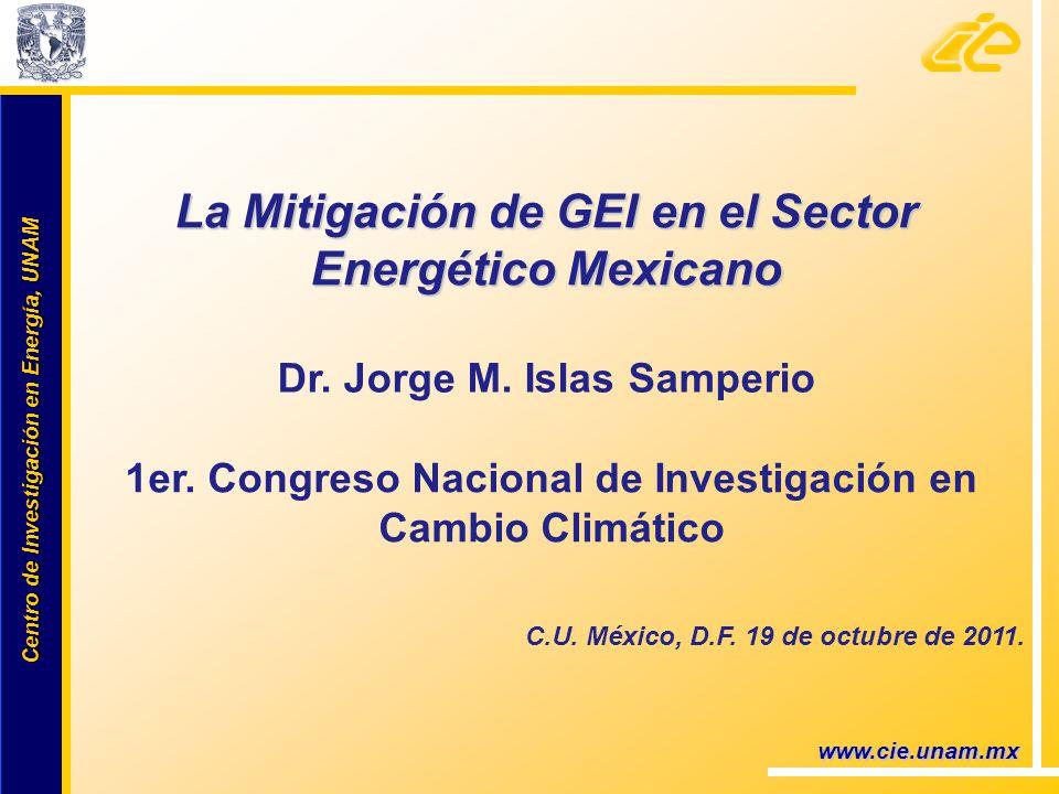Centro de Investigación en Energía, UNAM Centro de Investigación en Energía, UNAM www.cie.unam.mx La Mitigación de GEI en el Sector Energético Mexican