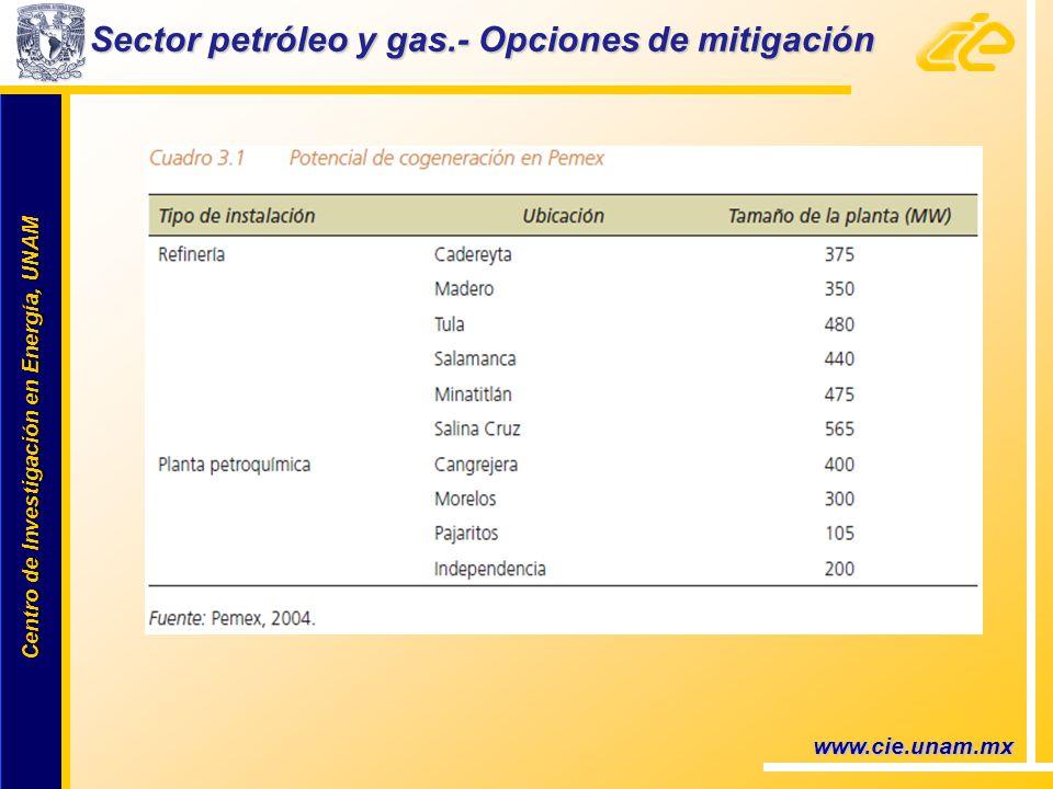 Centro de Investigación en Energía, UNAM Centro de Investigación en Energía, UNAM www.cie.unam.mx Sector petróleo y gas.- Opciones de mitigación
