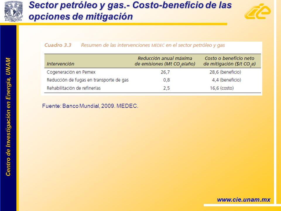 Centro de Investigación en Energía, UNAM Centro de Investigación en Energía, UNAM www.cie.unam.mx Sector petróleo y gas.- Costo-beneficio de las opciones de mitigación Fuente: Banco Mundial, 2009.