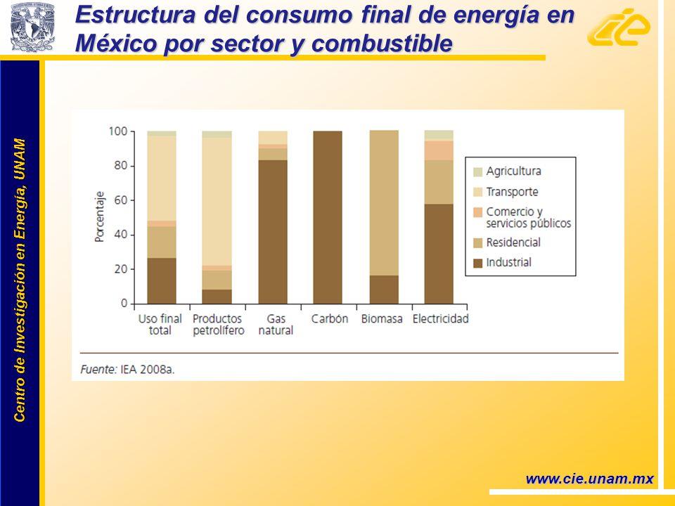 Centro de Investigación en Energía, UNAM Centro de Investigación en Energía, UNAM Estructura del consumo final de energía en México por sector y combustible www.cie.unam.mx