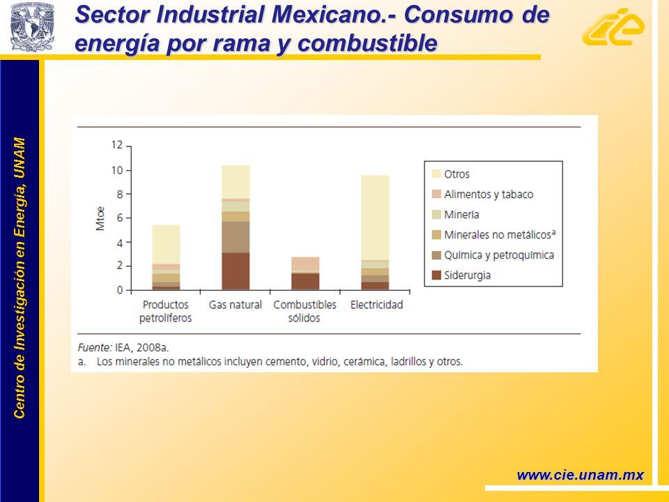 Centro de Investigación en Energía, UNAM Centro de Investigación en Energía, UNAM Sector Industrial Mexicano.- Consumo de energía por rama y combustible www.cie.unam.mx