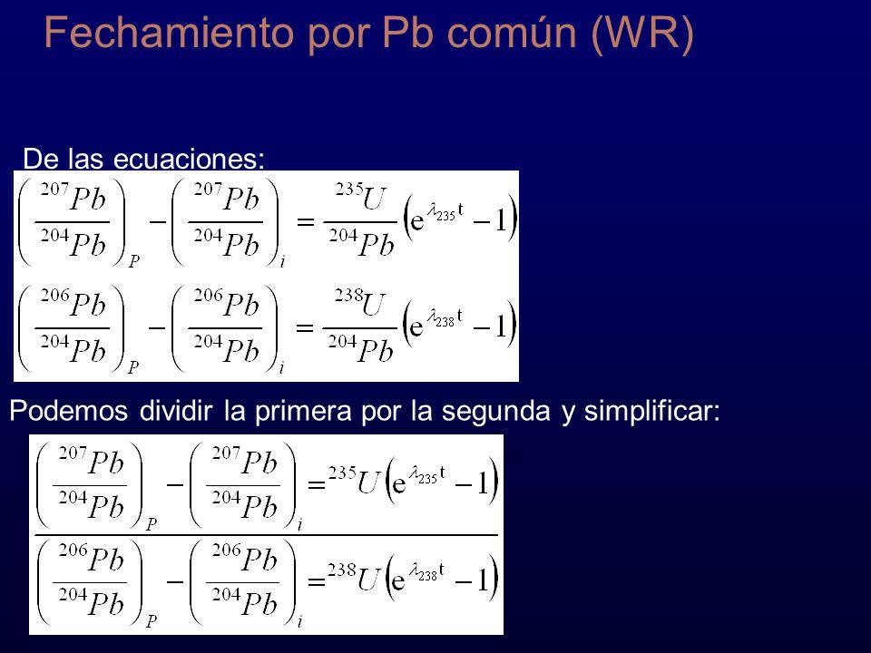Fechamiento por Pb común (WR) De las ecuaciones: Podemos dividir la primera por la segunda y simplificar: