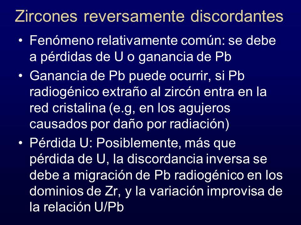 Zircones reversamente discordantes Fenómeno relativamente común: se debe a pérdidas de U o ganancia de Pb Ganancia de Pb puede ocurrir, si Pb radiogén