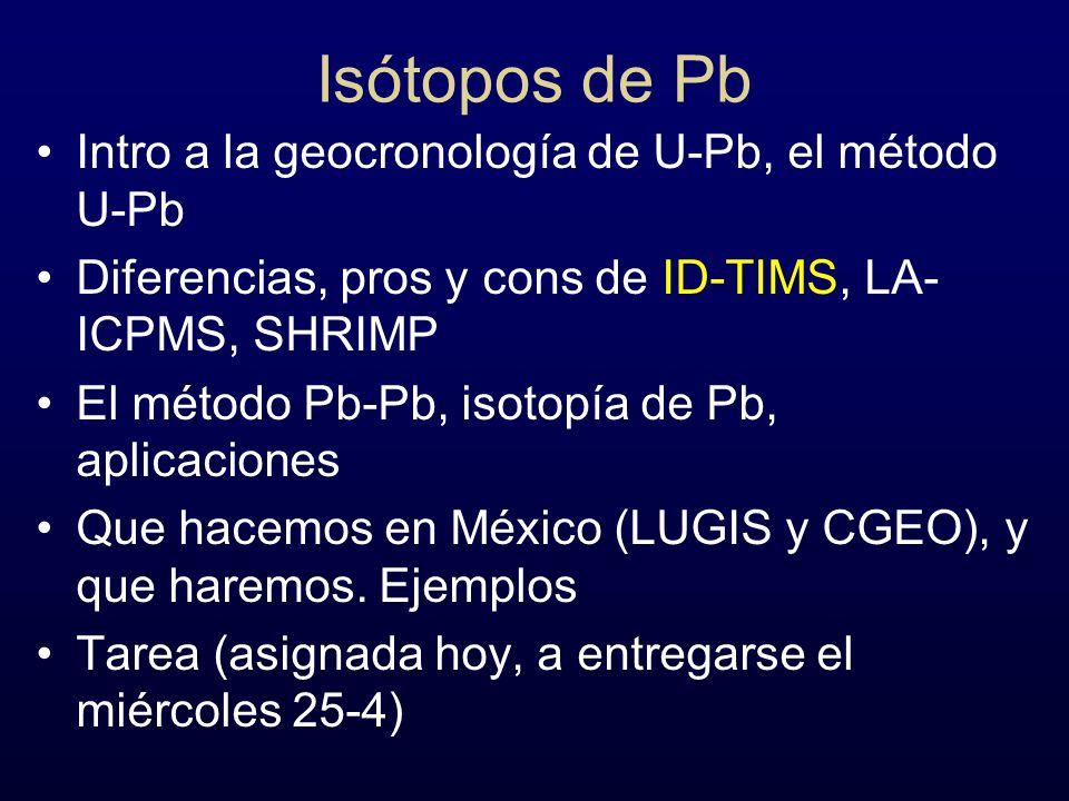 Isótopos de Pb Intro a la geocronología de U-Pb, el método U-Pb Diferencias, pros y cons de ID-TIMS, LA- ICPMS, SHRIMP El método Pb-Pb, isotopía de Pb