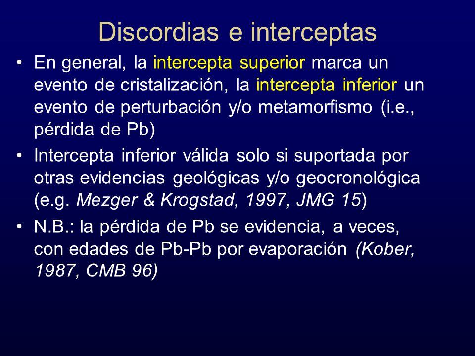 Discordias e interceptas En general, la intercepta superior marca un evento de cristalización, la intercepta inferior un evento de perturbación y/o me