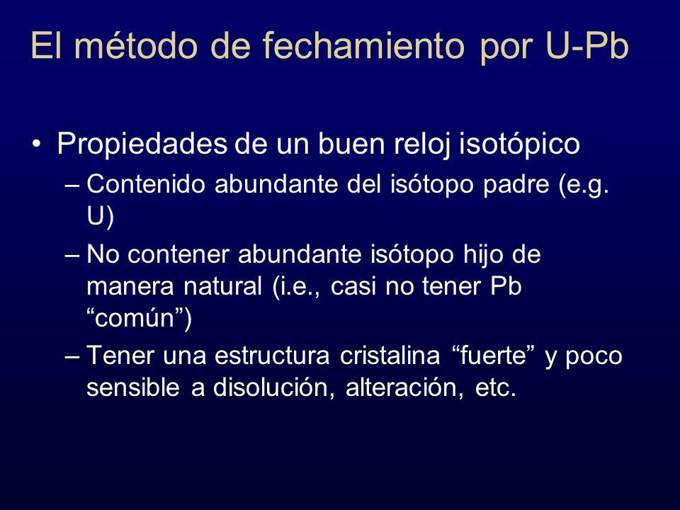El método de fechamiento por U-Pb Propiedades de un buen reloj isotópico –Contenido abundante del isótopo padre (e.g. U) –No contener abundante isótop