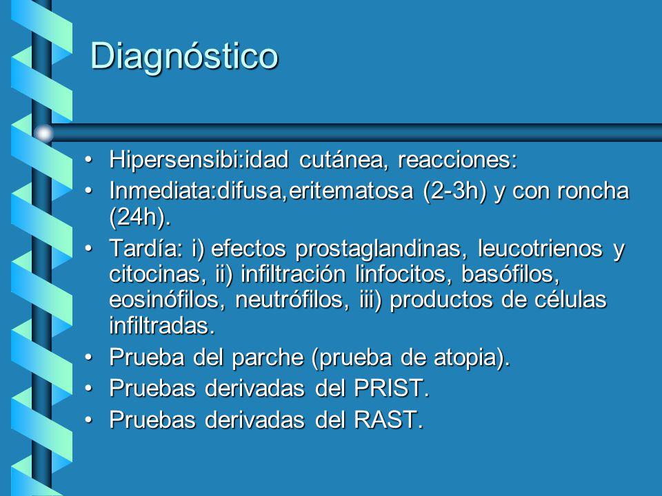 Diagnóstico Hipersensibi:idad cutánea, reacciones:Hipersensibi:idad cutánea, reacciones: Inmediata:difusa,eritematosa (2-3h) y con roncha (24h).Inmedi