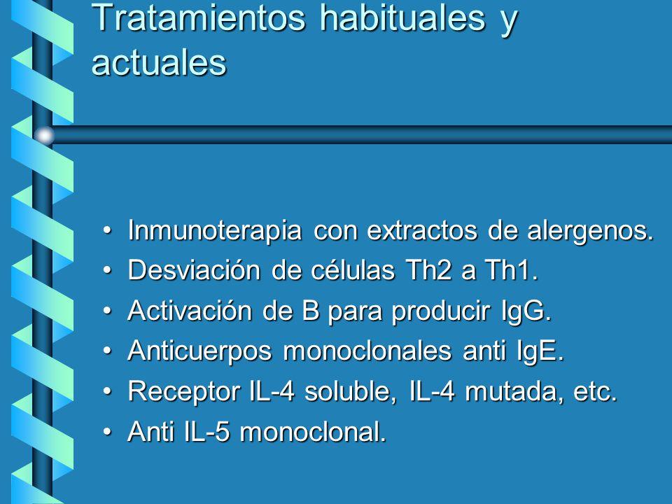 Tratamientos habituales y actuales Inmunoterapia con extractos de alergenos.Inmunoterapia con extractos de alergenos. Desviación de células Th2 a Th1.