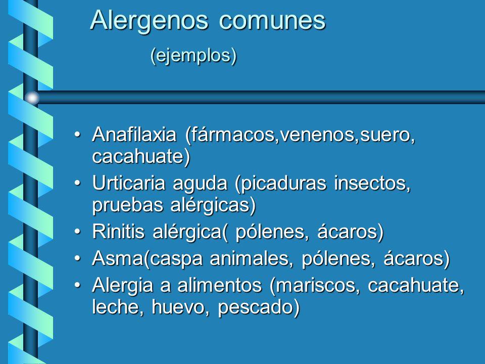 Alergenos comunes (ejemplos) Anafilaxia (fármacos,venenos,suero, cacahuate)Anafilaxia (fármacos,venenos,suero, cacahuate) Urticaria aguda (picaduras i