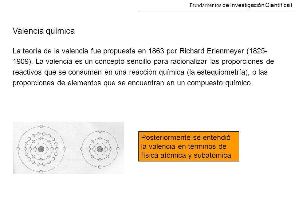 Fundamentos de Investigación Científica I Valencia química La teoría de la valencia fue propuesta en 1863 por Richard Erlenmeyer (1825- 1909). La vale