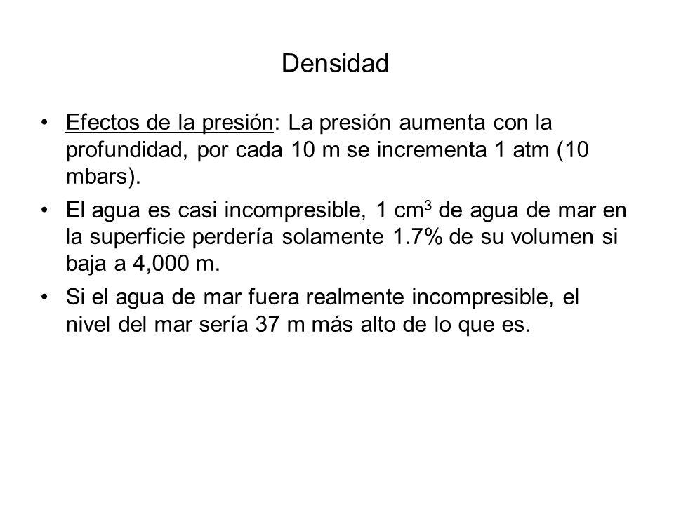Densidad Efectos de la presión: La presión aumenta con la profundidad, por cada 10 m se incrementa 1 atm (10 mbars).