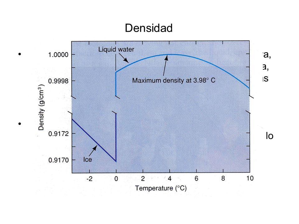 Densidad Efectos de la temperatura: Al aumentar la temperatura, el espacio entre las moléculas de agua se incrementa, por lo que hay una menor concentración de moléculas de agua por unidad de volumen.