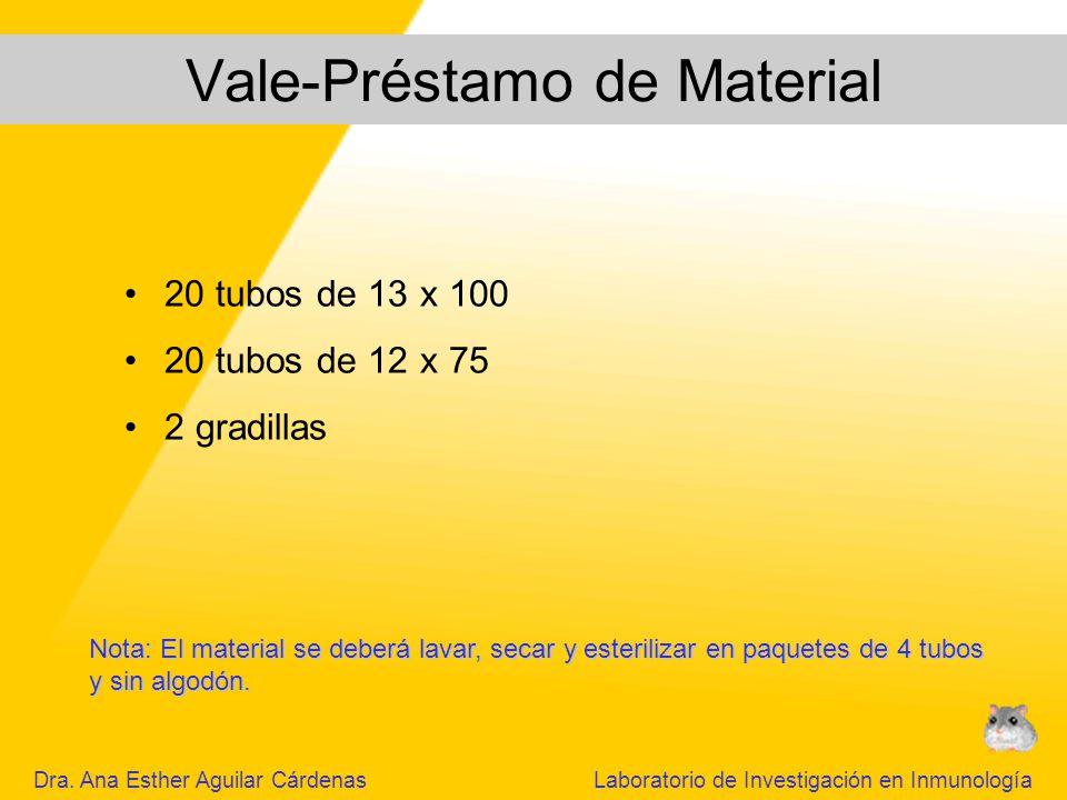 Vale-Préstamo de Material 20 tubos de 13 x 100 20 tubos de 12 x 75 2 gradillas Nota: El material se deberá lavar, secar y esterilizar en paquetes de 4 tubos y sin algodón.