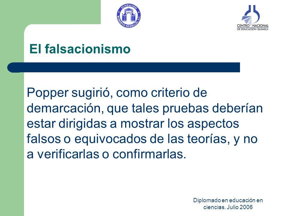 Diplomado en educación en ciencias. Julio 2006 El falsacionismo Popper sugirió, como criterio de demarcación, que tales pruebas deberían estar dirigid