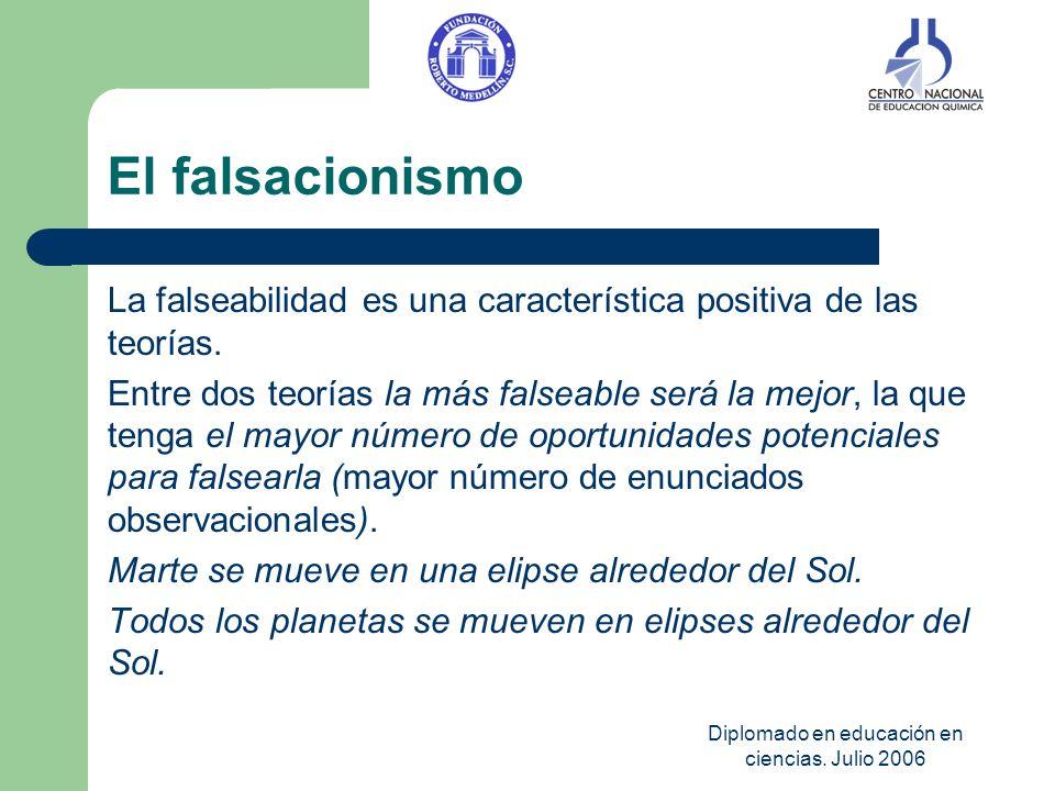 Diplomado en educación en ciencias. Julio 2006 El falsacionismo La falseabilidad es una característica positiva de las teorías. Entre dos teorías la m