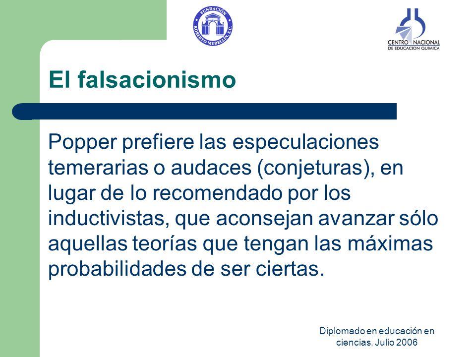 Diplomado en educación en ciencias. Julio 2006 El falsacionismo Popper prefiere las especulaciones temerarias o audaces (conjeturas), en lugar de lo r