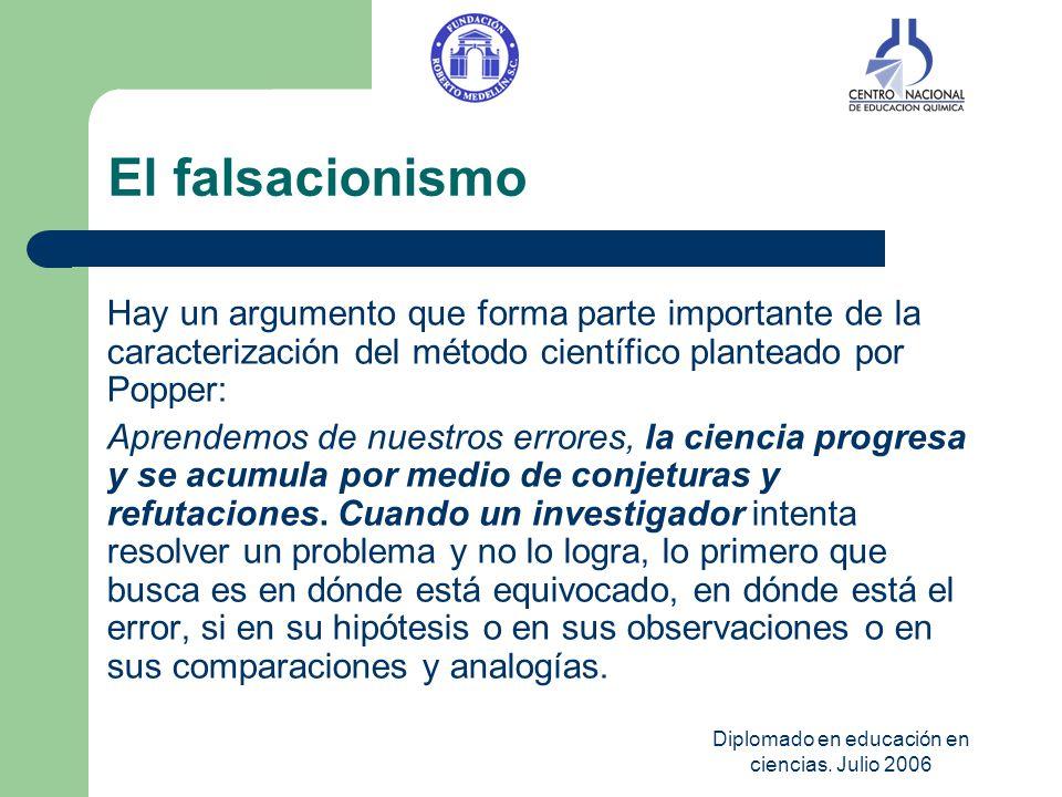 Diplomado en educación en ciencias. Julio 2006 El falsacionismo Hay un argumento que forma parte importante de la caracterización del método científic