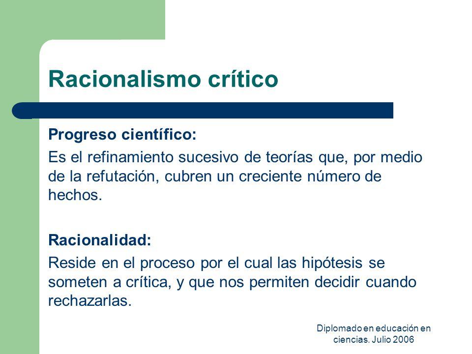 Diplomado en educación en ciencias. Julio 2006 Racionalismo crítico Progreso científico: Es el refinamiento sucesivo de teorías que, por medio de la r
