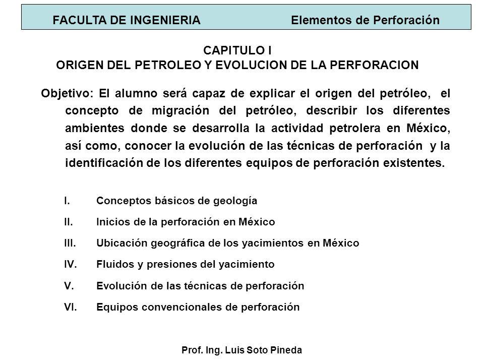 Prof. Ing. Luis Soto Pineda I.Conceptos básicos de geología II.Inicios de la perforación en México III.Ubicación geográfica de los yacimientos en Méxi