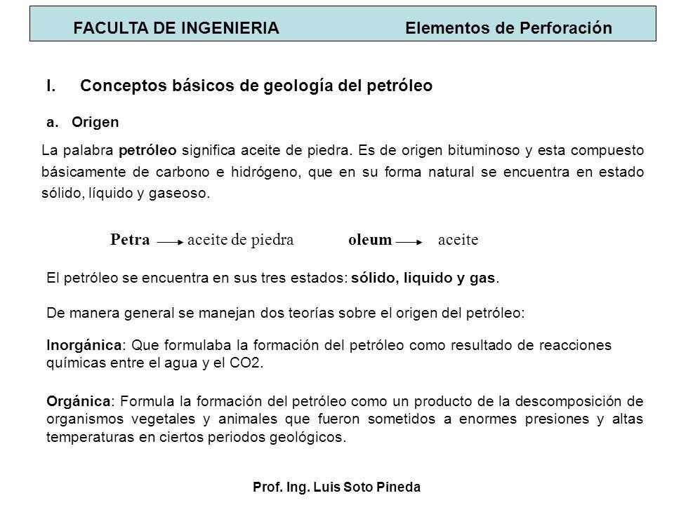 Prof. Ing. Luis Soto Pineda I.Conceptos básicos de geología del petróleo a.Origen Petra aceite de piedra oleum aceite De manera general se manejan dos