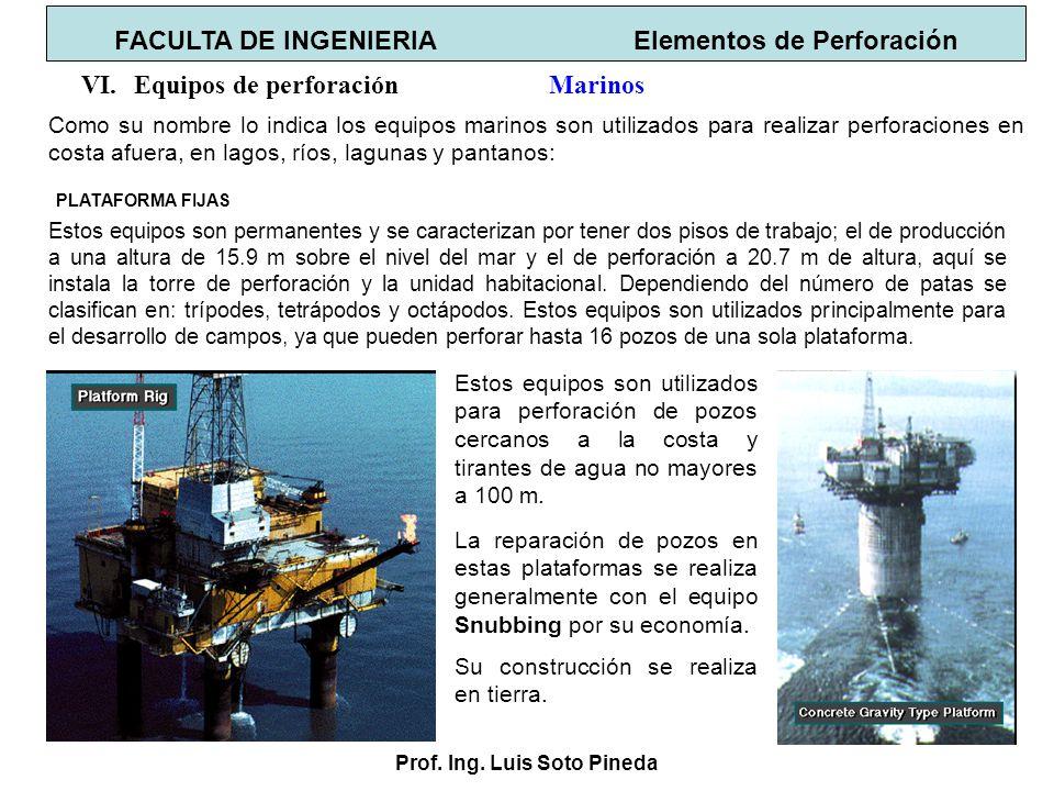 Prof. Ing. Luis Soto Pineda FACULTA DE INGENIERIA Elementos de Perforación VI.Equipos de perforación Marinos Como su nombre lo indica los equipos mari