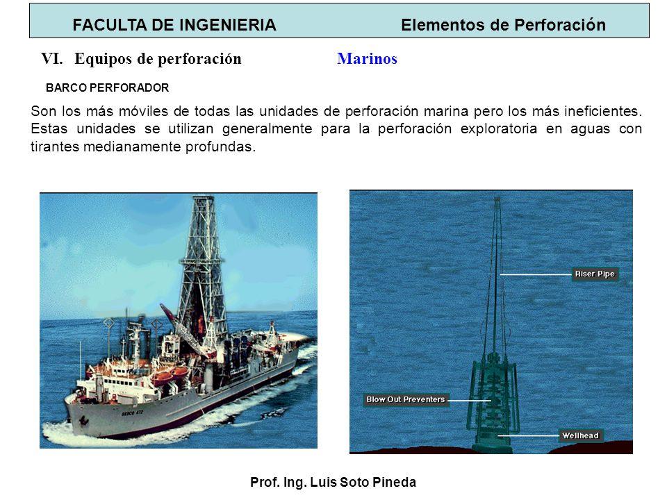 Prof. Ing. Luis Soto Pineda BARCO PERFORADOR FACULTA DE INGENIERIA Elementos de Perforación VI.Equipos de perforación Marinos Son los más móviles de t