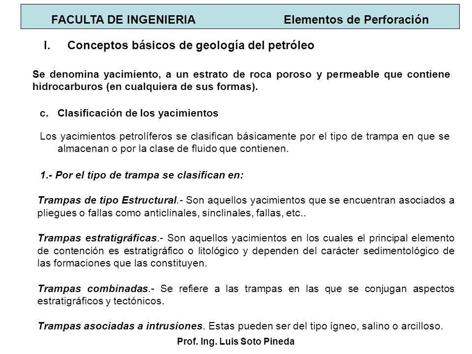 Prof. Ing. Luis Soto Pineda I.Conceptos básicos de geología del petróleo c.Clasificación de los yacimientos 1.- Por el tipo de trampa se clasifican en