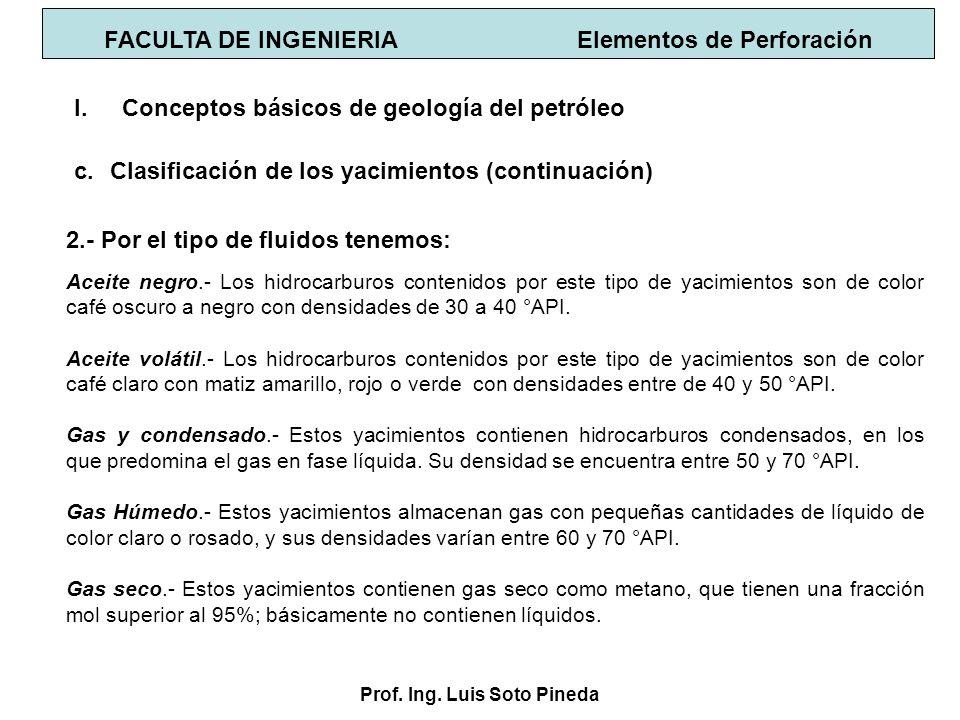 Prof. Ing. Luis Soto Pineda FACULTA DE INGENIERIA Elementos de Perforación 2.- Por el tipo de fluidos tenemos: I.Conceptos básicos de geología del pet
