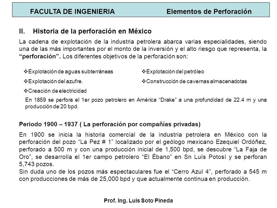 Prof. Ing. Luis Soto Pineda II.Historia de la perforación en México Periodo 1900 – 1937 ( La perforación por compañías privadas) En 1900 se inicia la