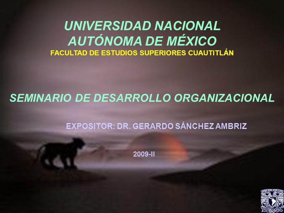 UNIVERSIDAD NACIONAL AUTÓNOMA DE MÉXICO FACULTAD DE ESTUDIOS SUPERIORES CUAUTITLÁN SEMINARIO DE DESARROLLO ORGANIZACIONAL EXPOSITOR: DR. GERARDO SÁNCH